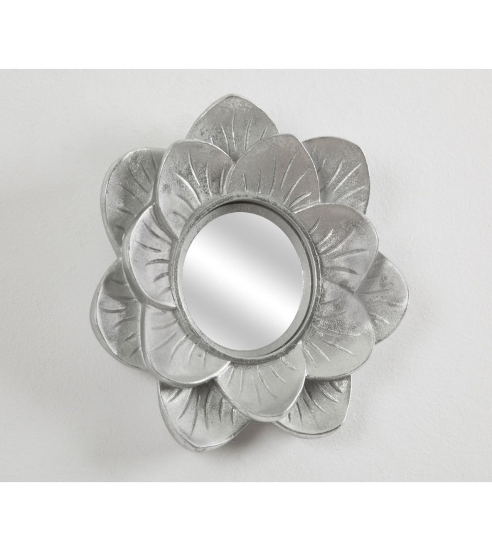Espejo plata flor